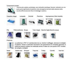 Alcuni esempi di prodotti realizzati con le plastiche riciclate